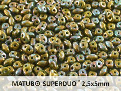 SuperDuo 2.5x5mm Opaque Olivine - Nebula - 10 g