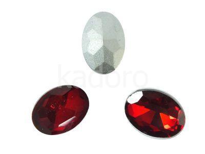 Szklany kamień fasetowany owal 14x10mm Red F - 2 sztuki