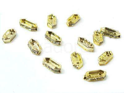 Dwudziurkowa przekładka z kryształkami 11 mm kolor złoty - 1 sztuka