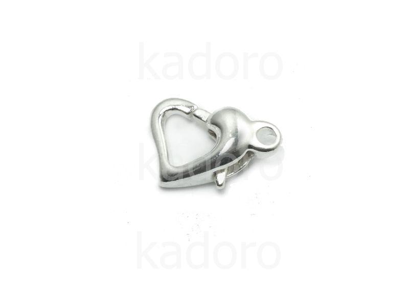 Karabińczyk serce 12x9 mm kolor srebrny - 1 sztuka