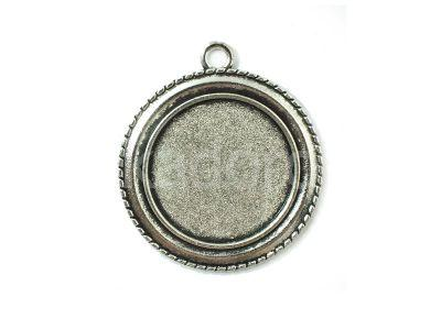Ozdobna baza do kaboszonu 25 mm kolor srebrny - 1 sztuka