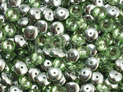 Lentil Spacers Silver 1/2 Coated Peridot 6mm - 20 sztuk