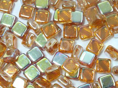 Silky Beads Flat 6mm Crystal Orange Rainbow - 20 sztuk