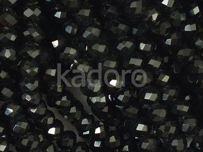 Szklane oponki fasetowane czarne 4x3 mm - sznur