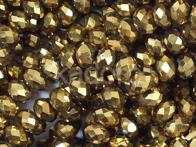 Szklane oponki fasetowane antyczne złoto 4x3 mm - sznur