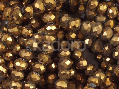 Szklane oponki fasetowane metaliczny cynamon 4x3 mm - sznur