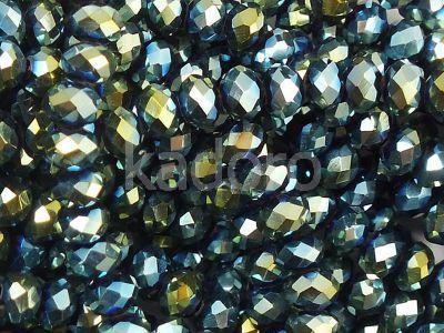 Szklane oponki fasetowane metaliczna morska zieleń 4x3 mm - sznur