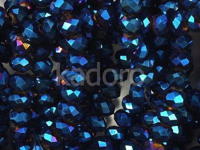 Szklane oponki fasetowane metaliczne indygo 4x3 mm - sznur