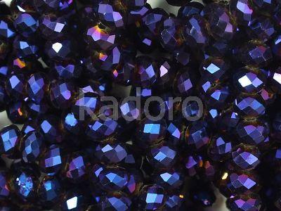 Szklane oponki fasetowane metaliczny skarabeusz 4x3 mm - sznur