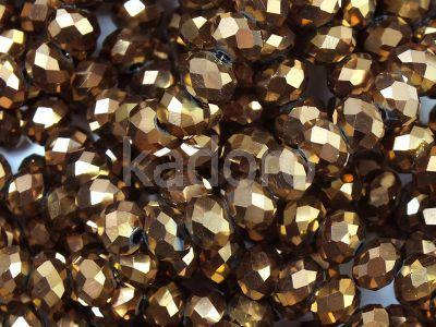 Szklane oponki fasetowane metaliczny cynamon 6x5 mm - sznur