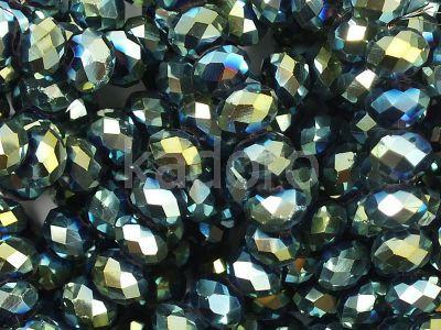 Szklane oponki fasetowane metaliczna morska zieleń 6x5 mm - sznur