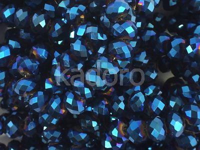 Szklane oponki fasetowane metaliczne indygo 6x5 mm - sznur