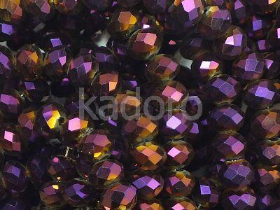 Szklane oponki fasetowane metaliczny bakłażan 6x5 mm - sznur