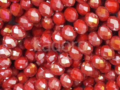 Szklane oponki fasetowane karmazynowe AB 6x4 mm - sznur