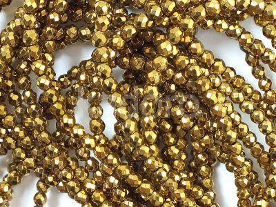 Hematyt złoty kula fasetowana 3 mm - sznur 40 cm