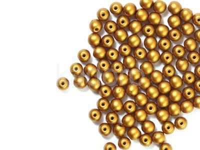 Round Beads Matte Metallic Brass Gold 4 mm - opakowanie