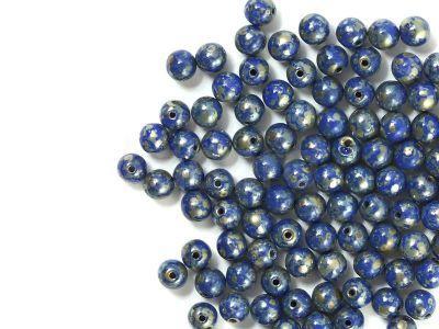 Round Beads Opaque Blue - Picasso Silver 4 mm - opakowanie