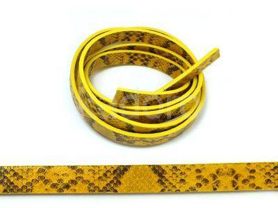 Rzemień ekologiczny żółty wężowa skórka 10 mm - 20 cm