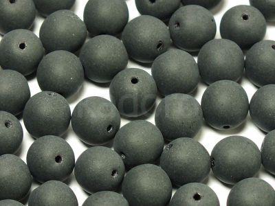 Round Beads Matte Jet 8 mm - 10 sztuk