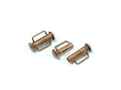 Zapięcie slide 16x10mm miedziane z zaczepem antyczne - 1 sztuka
