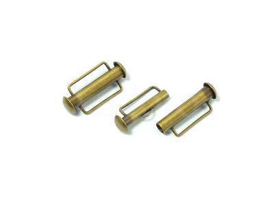 Zapięcie slide 21x10mm mosiężne z zaczepem - 1 sztuka