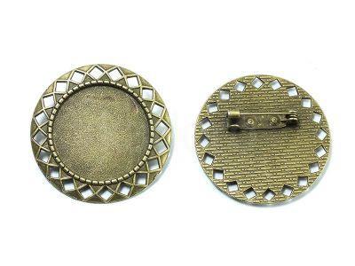 Baza broszki pod kaboszon 25 mm kolor mosiądzu - 1 sztuka