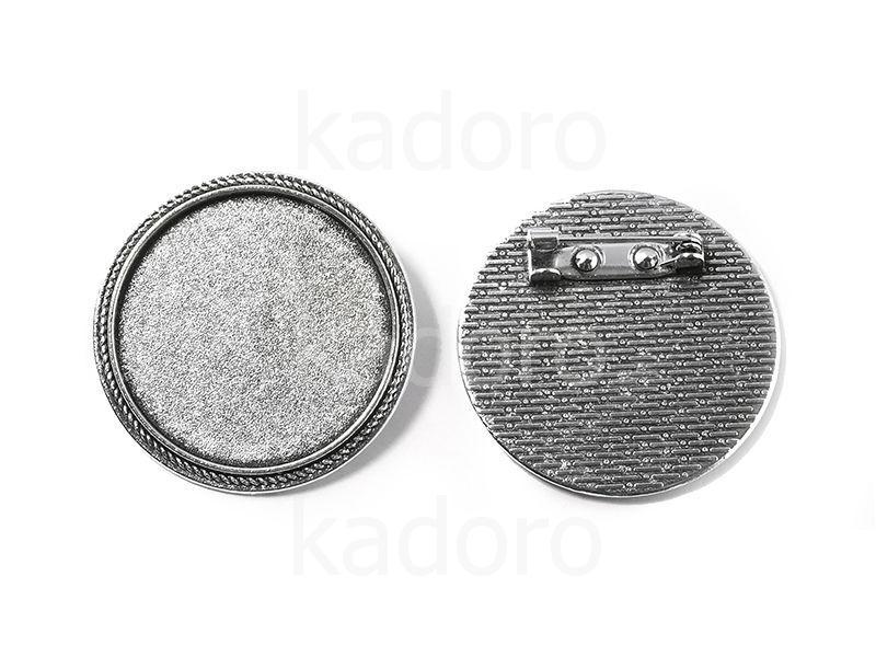Baza broszki I pod kaboszon 30 mm kolor srebrny - 1 sztuka