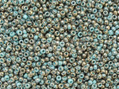 TOHO Round 11o-1703 Gilded Marble Turquoise - 10 g