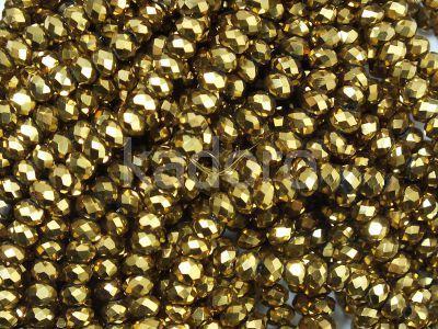 Szklane oponki fasetowane antyczne złoto 3x2 mm - sznur