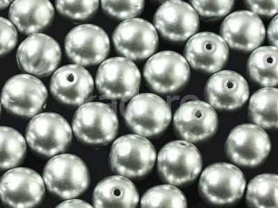 Round Beads Matte Metallic Aluminium 8 mm - 10 sztuk