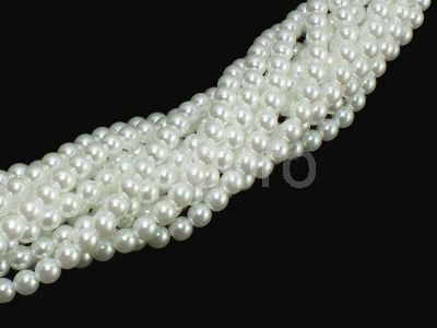 Perełki szklane białe 6 mm - sznur