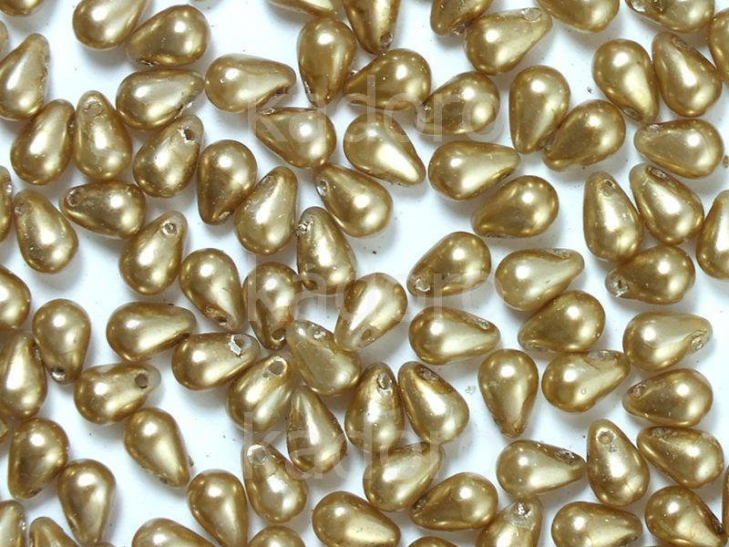 Puffy Teardrops Crystal Gold Beige Pearl Coat 6x4mm - 20 sztuk