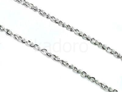 Łańcuch metalowy skręcony 5x4 mm kolor srebrny - 20 cm