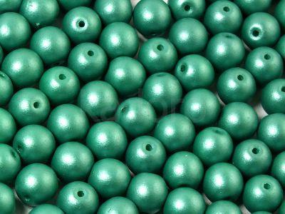 Round Beads Shine Satin Metallic Green Turquoise 6 mm - 20 sztuk