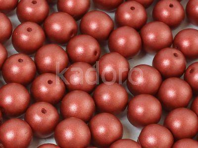 Round Beads Shine Satin Metallic Rust 8 mm - 10 sztuk
