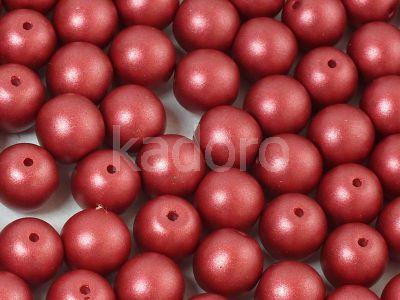 Round Beads Shine Satin Metallic Sangria 8 mm - 10 sztuk