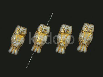 Owls Alabaster - Gold Inlay 15x7 mm - 4 sztuki