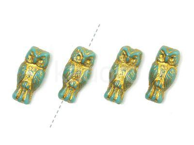 Owls Jade - Gold Inlay 15x7 mm - 4 sztuki