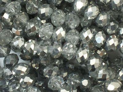 Szklane oponki fasetowane kryształowo-srebrne 6x4 mm - sznur