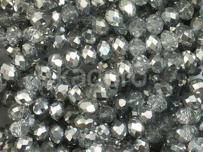 Szklane oponki fasetowane kryształowo-srebrne 4x3 mm - sznur