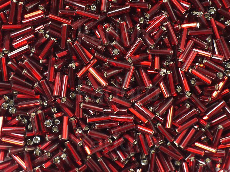 PRECIOSA Bugle 3-Silver-Lined Ruby SH - 10 g