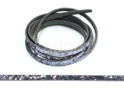 Rzemień ekologiczny fioletowy z brokatem 5 mm - 120 cm