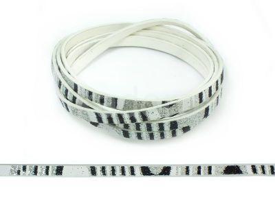 Rzemień ekologiczny biały srebrno-czarny wzór 5 mm - 120 cm