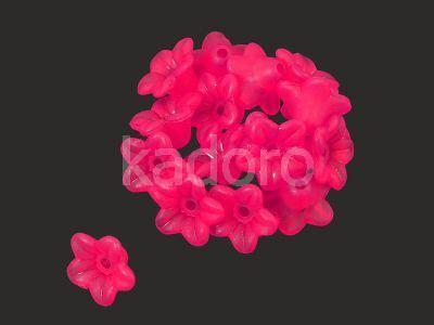 Kwiatek akrylowy fuksjowy 10x5 mm - 10 sztuk