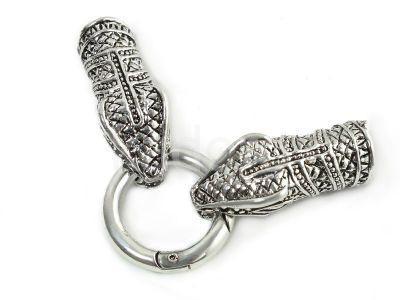 Ozdobne zapięcie z końcówkami wąż kolor srebrny - 1 komplet