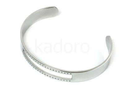 Baza bransoletki stalowa z dziurkami - 1 sztuka