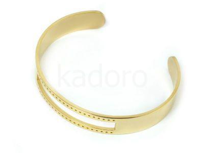 Baza bransoletki stalowa z dziurkami złota - 1 sztuka