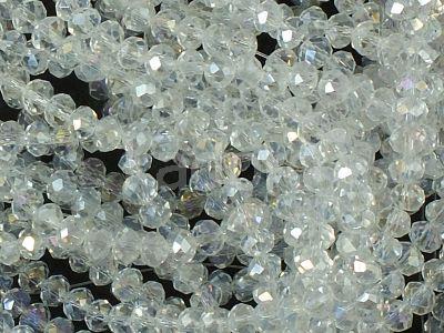 Szklane oponki fasetowane kryształowe AB 3x2 mm - sznur