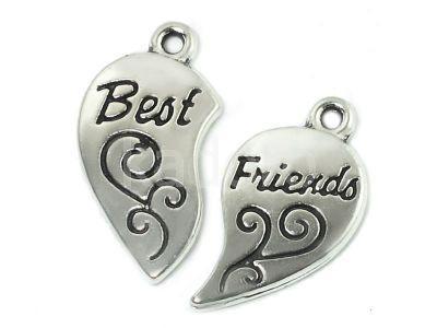 Zawieszka dwuczęściowa Best Friends kolor srebrny - komplet