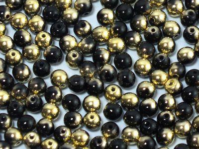 Round Beads Gold 1/2 Coated Jet 4 mm - opakowanie